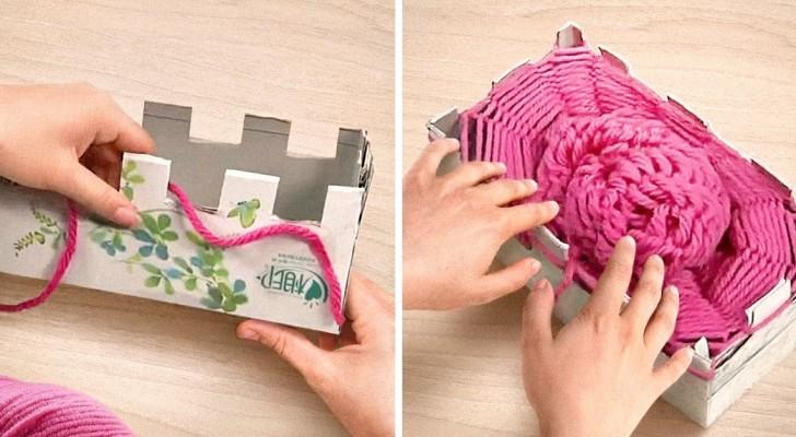 comment faire une charpe avec de la laine et deux bo tes en carton c 39 est fait maison. Black Bedroom Furniture Sets. Home Design Ideas