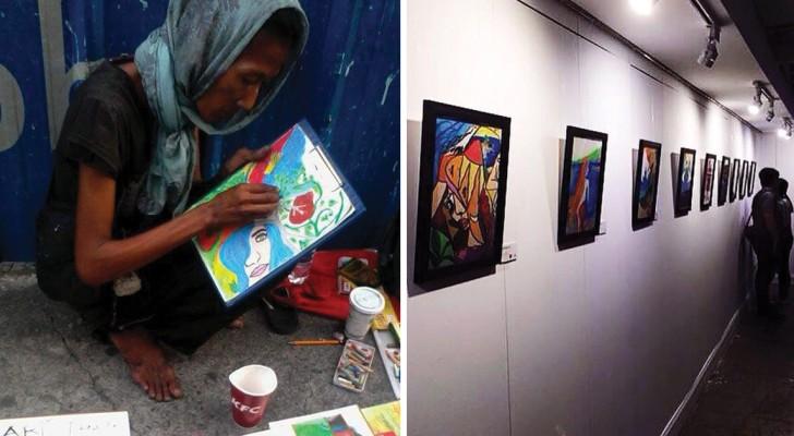 Elle fait des tableaux sur le trottoir, mais quelque chose qui se passe va changer sa vie!