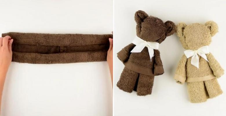 voici comment faire un joli ourson avec une serviette en seulement 1 minute c 39 est fait maison. Black Bedroom Furniture Sets. Home Design Ideas