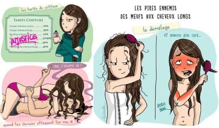 10 dessins qui illustrent parfaitement le quotidien des filles aux cheveux longs
