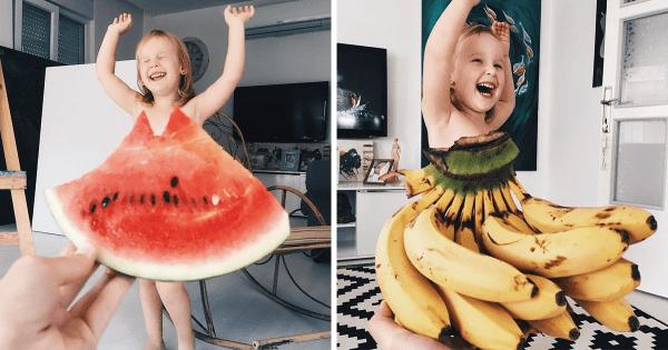 Cette maman « habille » sa fille avec des fleurs et de la nourriture, voici 20 photos adorables