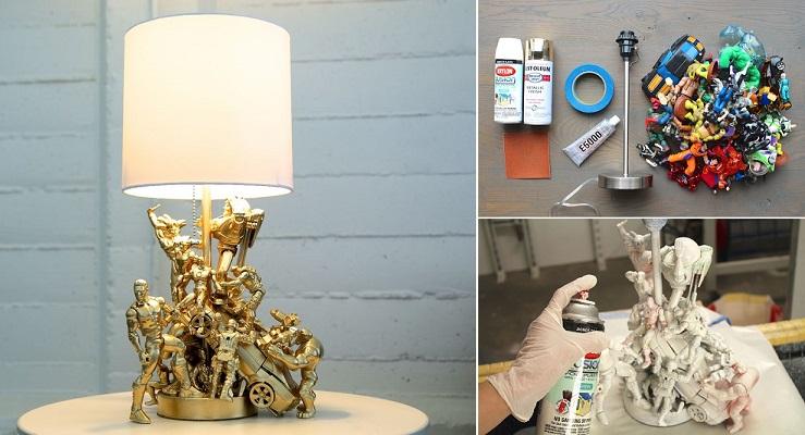 comment fabriquer une jolie lampe avec des figurines c 39 est fait maison. Black Bedroom Furniture Sets. Home Design Ideas