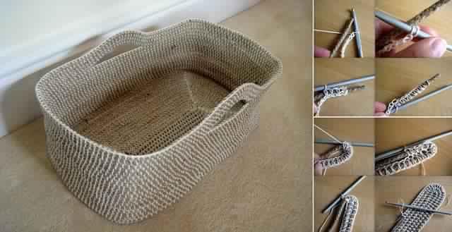 voici comment bricoler un panier en crochet une id e excellente c 39 est fait maison. Black Bedroom Furniture Sets. Home Design Ideas