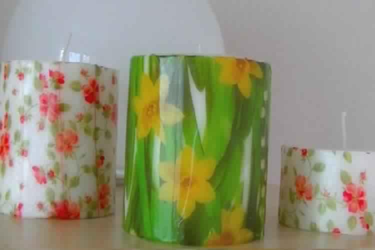 Voici comment de magnifiques bougies d cor es avec des serviettes en papier c 39 est fait maison - Bougie fait maison ...