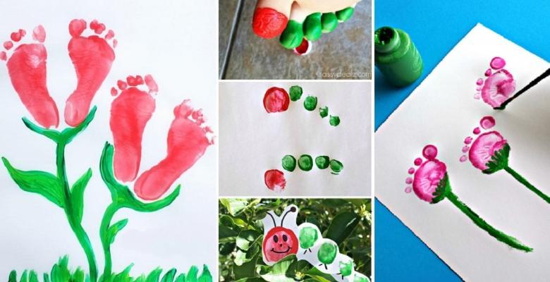 20 peintures faire avec les mains et les pieds de votre enfant pour le printemps c 39 est fait. Black Bedroom Furniture Sets. Home Design Ideas