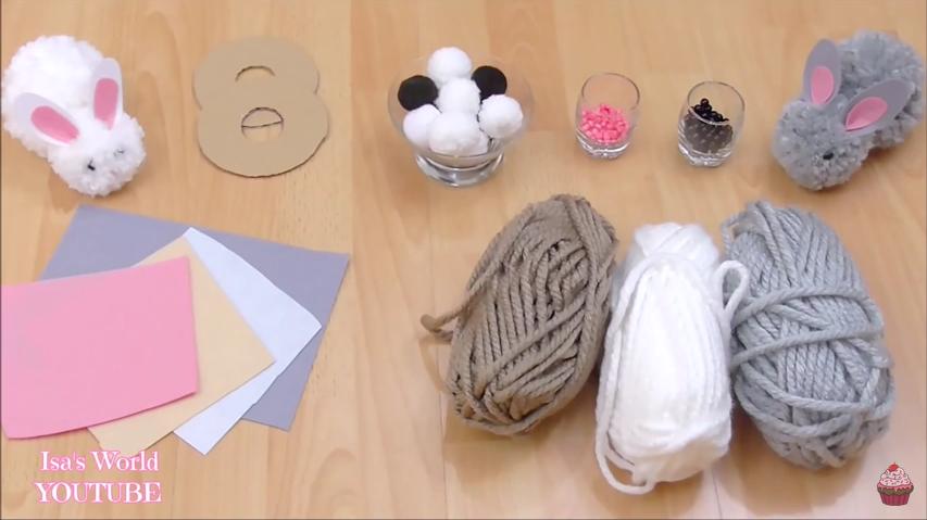 Voici comment fabriquer de jolis lapins avec des pompons ...